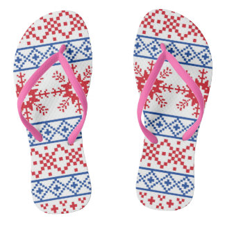 Nordic Christmas Snowflake Borders Flip Flops