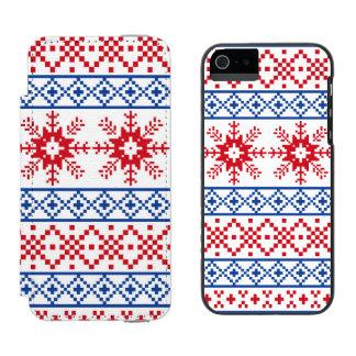 Nordic Christmas Snowflake Borders Incipio Watson™ iPhone 5 Wallet Case
