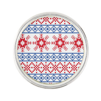Nordic Christmas Snowflake Borders Lapel Pin