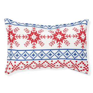 Nordic Christmas Snowflake Borders Pet Bed