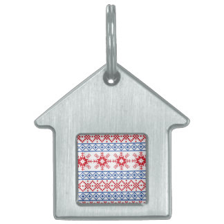 Nordic Christmas Snowflake Borders Pet Tag