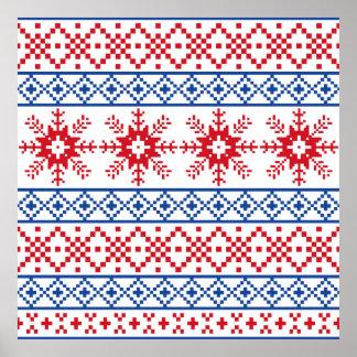 Nordic Christmas Snowflake Borders Poster
