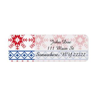 Nordic Christmas Snowflake Borders Return Address Label