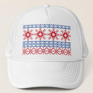 Nordic Christmas Snowflake Borders Trucker Hat