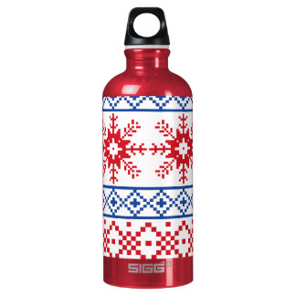 Nordic Christmas Snowflake Borders Water Bottle