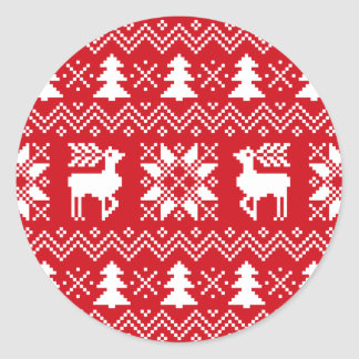 Nordic Christmas Sweater Inspired Red Pattern Round Sticker