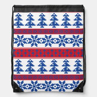 Nordic Christmas Trees Drawstring Bag