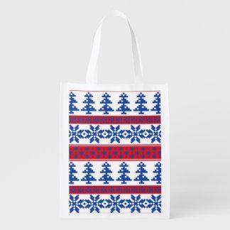 Nordic Christmas Trees Reusable Grocery Bag