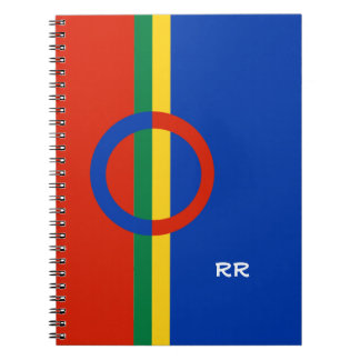 Nordic Circle Red Blue On Color Stripe Notebook