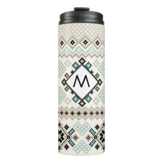 Nordic Cross Stitch Sweater Pattern Thermal Tumbler