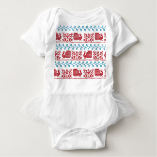 Nordic embroidery pattern (peacock and flowers) baby bodysuit