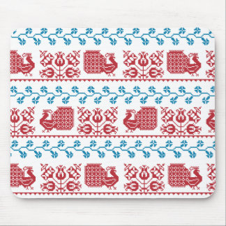 Nordic embroidery pattern (peacock and flowers) mouse pad