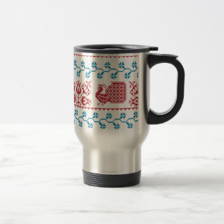 Nordic embroidery pattern (peacock and flowers) travel mug