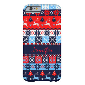 Nordic folk Seasonal pattern with custom Name Barely There iPhone 6 Case