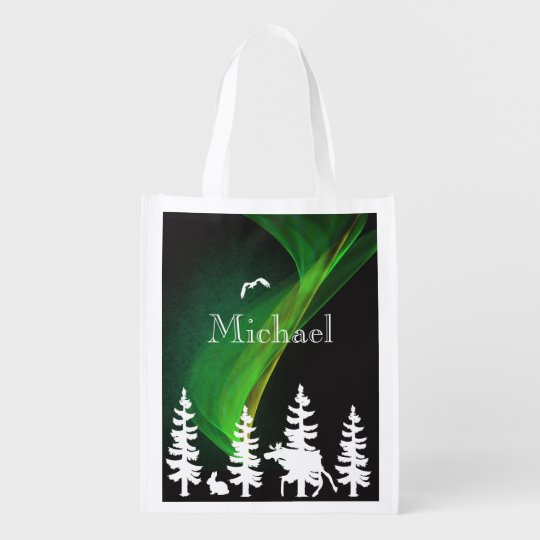 Nordic forest in white and black  northern lights market totes