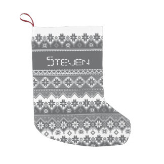 Nordic Grey Small Christmas Stocking