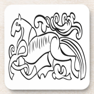 Nordic Horse black and white graphic image Beverage Coasters