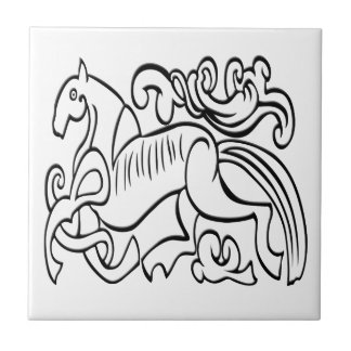 Nordic Horse black and white graphic image Tiles