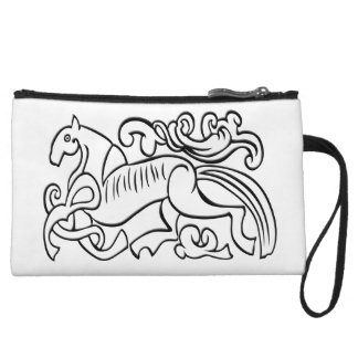 Nordic Horse black and white graphic image Wristlet Purse