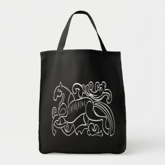 Nordic Horse black and white graphic inverted Tote Bags