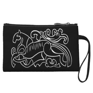 Nordic Horse black and white graphic inverted Wristlet Purses