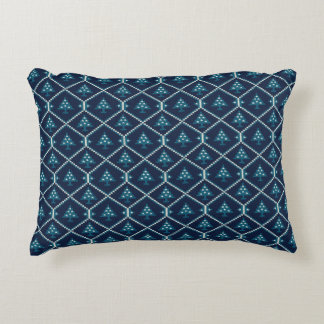 Nordic Knitted Christmas Tree Pattern Blue Decorative Pillow