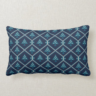 Nordic Knitted Christmas Tree Pattern Blue Lumbar Pillow