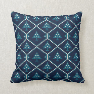 Nordic Knitted Christmas Tree Pattern Blue Throw Pillow