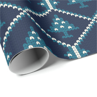 Nordic Knitted Christmas Tree Pattern Blue Wrapping Paper