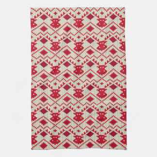 Nordic Knitted Reindeer Kitchen Towel