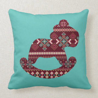 Nordic pattern rocking horse-mint throw pillow
