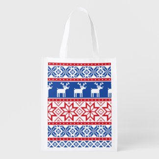 Nordic Reindeer and Snowflakes Grocery Bags