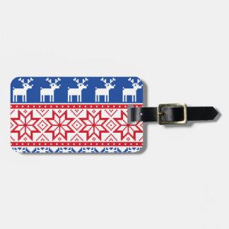 Nordic Reindeer and Snowflakes Luggage Tag