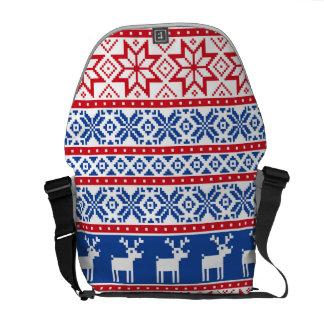 Nordic Reindeer and Snowflakes Messenger Bag