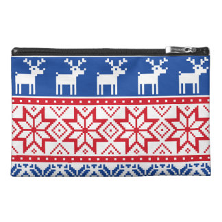 Nordic Reindeer and Snowflakes Travel Accessories Bag