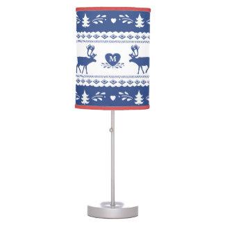 Nordic reindeer, heart and snowflake pattern table lamp