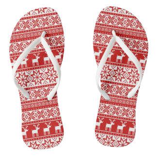 Nordic Snowflake Reindeer Ugly Christmas Sweater Flip Flops