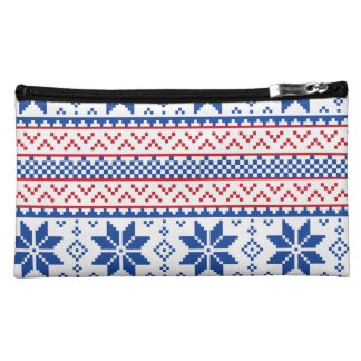Nordic Snowflakes Christmas Pattern Makeup Bags