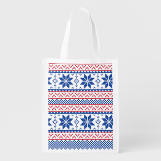 Nordic Snowflakes Christmas Pattern Reusable Grocery Bag