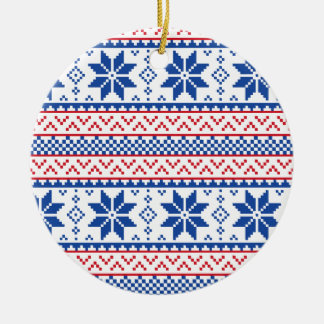 Nordic Snowflakes Christmas Pattern Round Ceramic Ornament