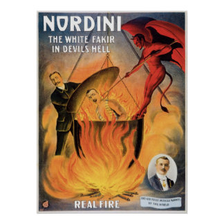 Nordini~ In Devils Hell Vintage Magic Act Poster