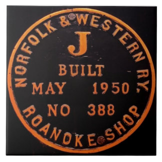 Norfolk and Western 611 Builders Plate Tile
