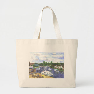 Norfolk Broads view from Wroxham Large Tote Bag