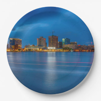 Norfolk City Skyline Paper Plate