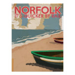 Norfolk, England Vintage Travel Poster