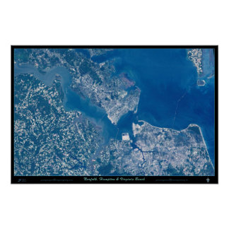 Norfolk Hampton & Virginia Beach Virginia satellit Poster