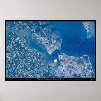 Norfolk Hampton & Virginia Beach Virginia satellit Poster