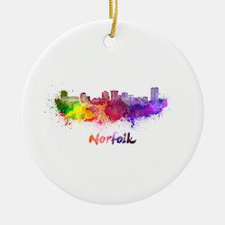 Norfolk skyline in watercolor ceramic ornament