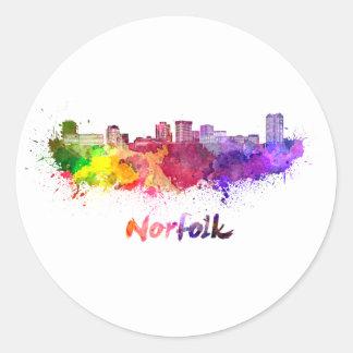 Norfolk skyline in watercolor classic round sticker