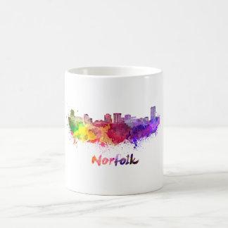 Norfolk skyline in watercolor coffee mug